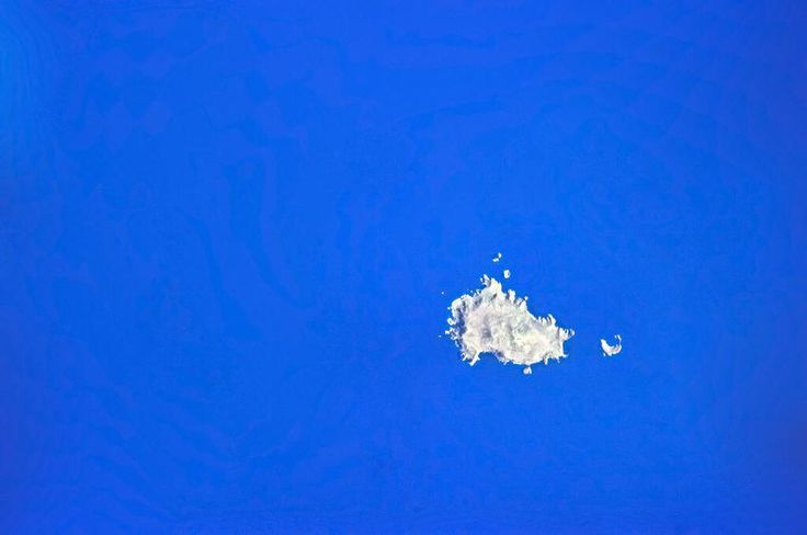 """Antipodes Islands - April 7  """"Antipodes Islands, looking like an island flag."""" Image courtesy of Chris Hadfield"""