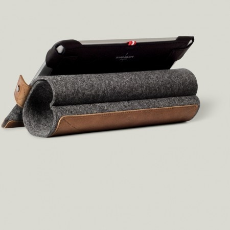 Hard Graft Tilt iPad Case: Cleverly rolls to prop up your iPad and then folds back into a slim and lightweight protective cover. Made of 100%wool and leather. Handmade in Italy.