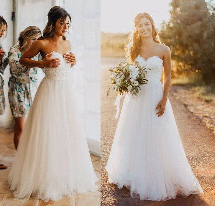 Elegant Tulle Beach Wedding Dresses 2017 Sweetheart Lace A line Simple Cheap Bridal Gowns Plus Size Country Wedding Dress