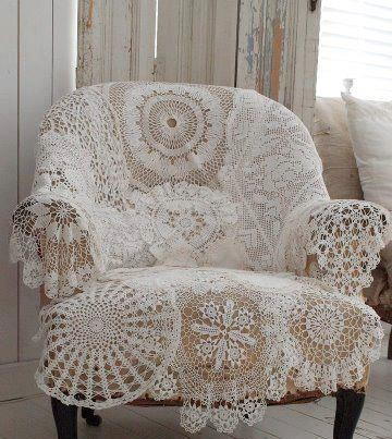 chair with vintage doilies use to keep sofa or stool clean from the doggies