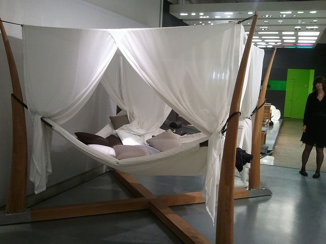 Canopy Hammock bed by maximosis, via Flickr. A little less white and a little more Avatar and I'm all about it.