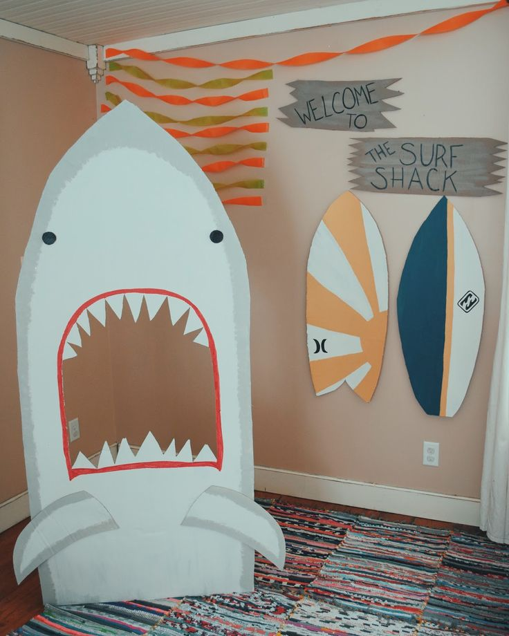 shark jaws photo prop / surfer beach party / birthday party ideas / the surf shack