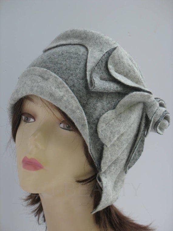 Damen Winter Warme Faux Wolle Vintage Cloche Bankett Filz Hut Mütze Britischen
