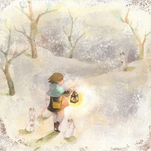 """Eriko Kurita (In the Pocket), """"あたたかな灯"""" (""""Warm Light""""). Oh, <3 . That bunny's brown nose------ (I wonder what's going to transpire.)"""