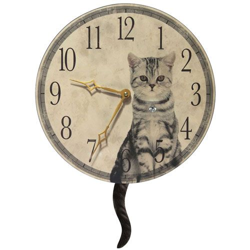 Purrfect Timing Beige Wall Clock