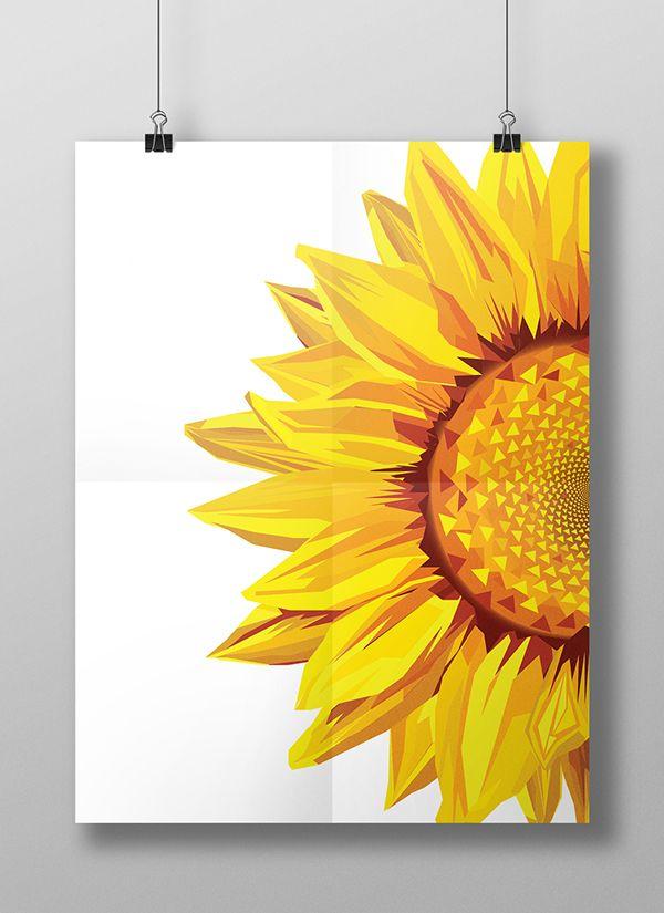 Sunflower tattoos should have a deep blue background. Geometric Sunflower Vector Illustration on Behance