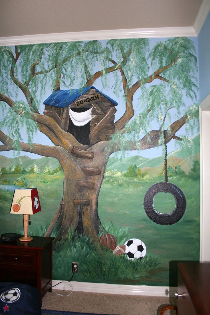 8 best child s room decor images on pinterest mural ideas tree child s room tree house mural very popular mural choice for a boys room it