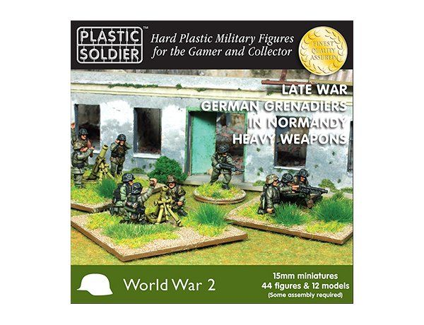 The Plastic Soldier Company 15mm German Grenadiers in Normandy Heavy Weapons from the plastic model kits range provides a selection of highly detailed miniatures that accurately recreate the real life German Soldiers from World War II.