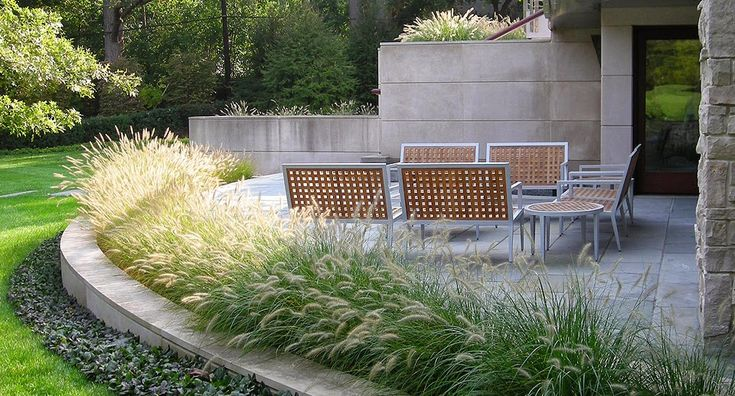Gardening Landscaping :: Patio, could be gravel, stone, pavers..., lined with White Flowering Ornamental Grasses