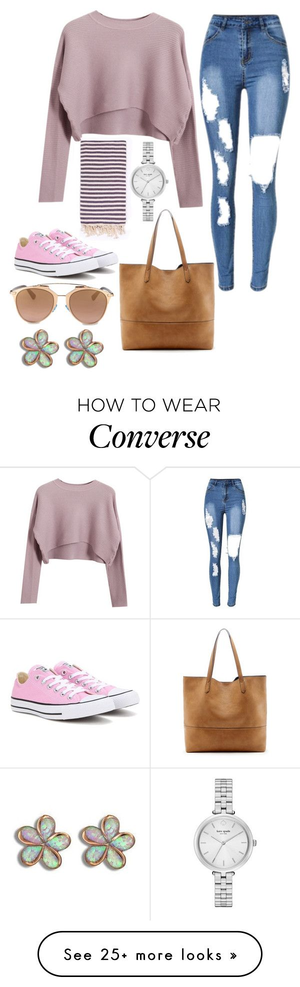 """Untitled #9420"" by beatrizibelo on Polyvore featuring Chicnova Fashion, Turkish-T, Converse, Kate Spade, Sole Society and Christian Dior"
