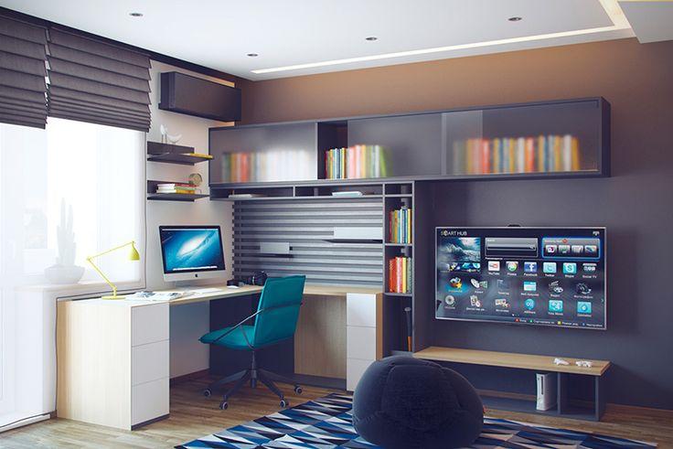 Functional interior teenager's room with an original open storage system Функциональный интерьер комнаты подростка