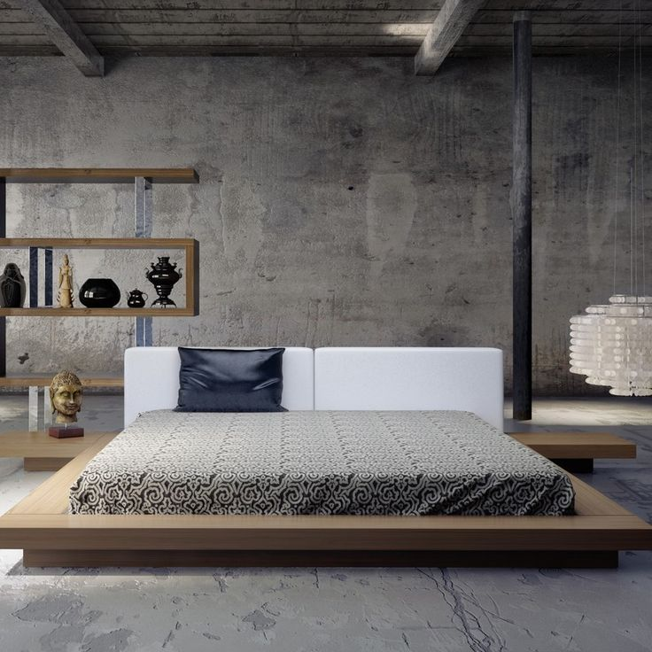 Low Bed With Storage Part - 20: Worth Bed With Matching Nightstands // Walnut + White (Cal King: X X