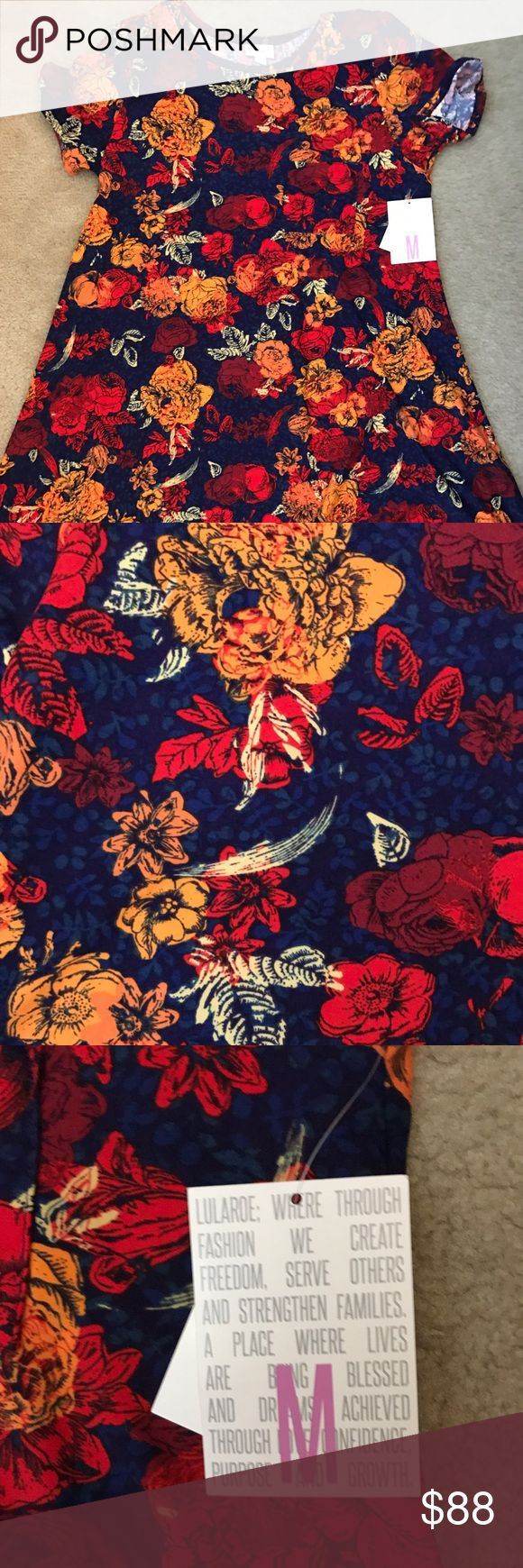 LuLaRoe M floral Carly BNWT beautiful blue and red floral Carly. Leggings material. Unicorn. Smoke free and pet free home. LuLaRoe Dresses Asymmetrical
