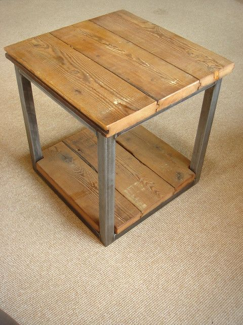 Reclaimed Wood And Steel Side Table Industrial Side Tables And Wood And Metal Side Table