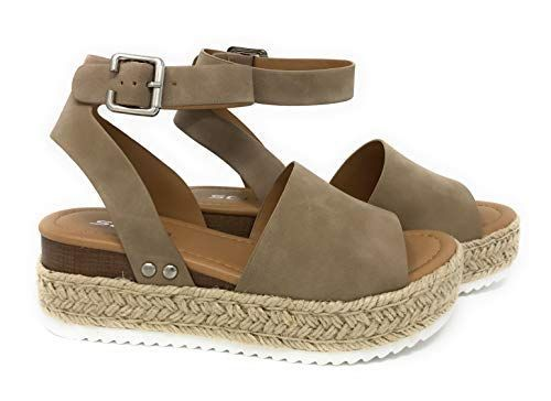 32aac2b1b Awesome Womens JDTopic2 Casual Espadrilles Trim Rubber Sole Flatform Studded  Wedge Buckle Ankle Strap Open Toe Sandals (7 M US, Natural) #shoes #fashions