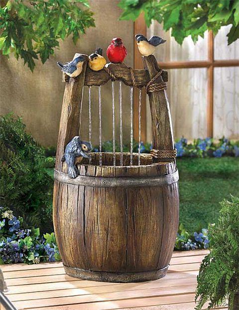 Outdoor+Patio+Water+Fountains   OUTDOOR GARDEN PATIO BLUEBIRDS WISHING  BARREL YARD WATER