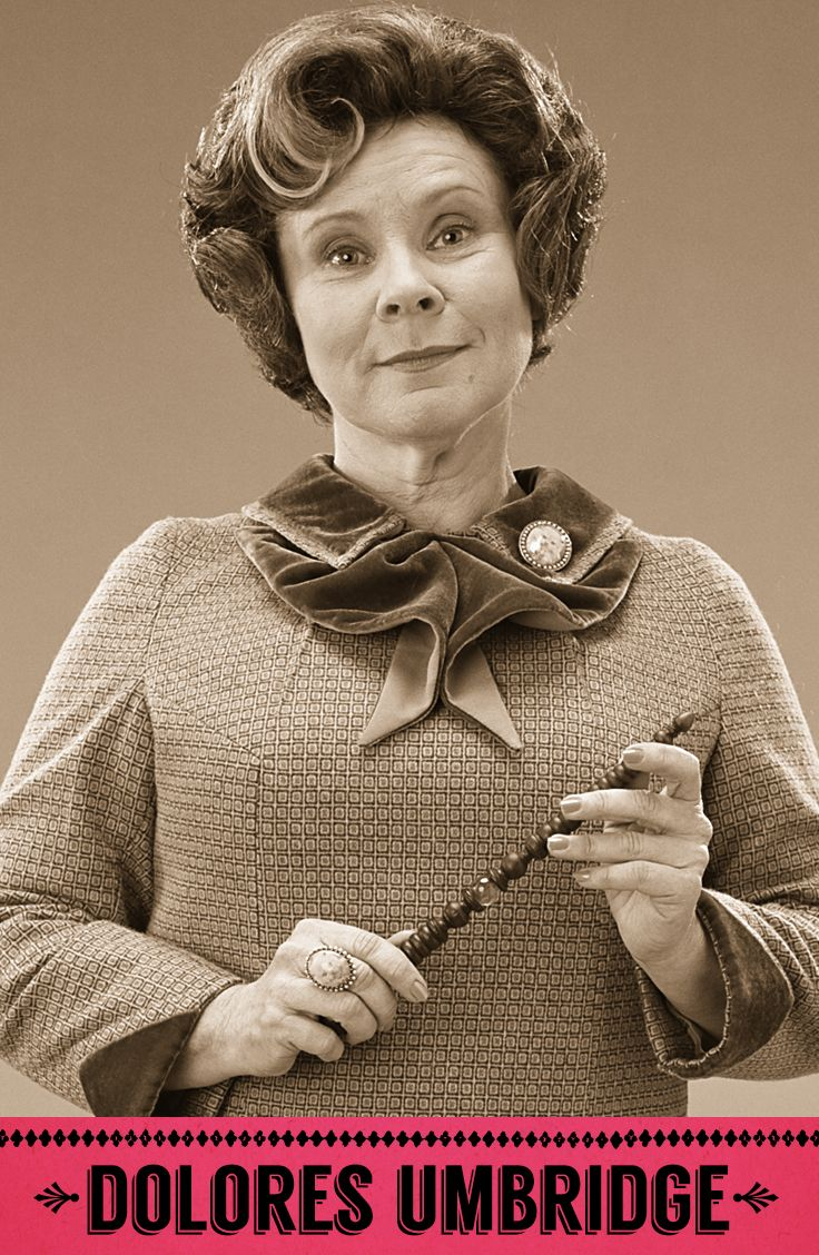 Dolores Umbridge, Defence Against the Dark Arts professor, Senior Undersecretary to the Minister for Magic, Hogwarts High Inquisitor, Headmistress of Hogwarts, Head of the Muggle-Born Registration Commission. #HarryPotter #Hogwarts #Umbridge