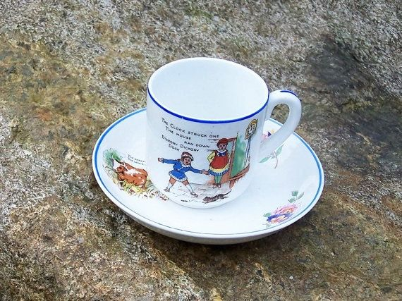 Antique Nursery Rhyme China Transferware Teacup & by IngliVintage