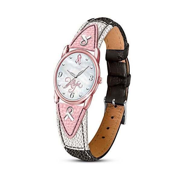 Breast Cancer Awareness Leather Band Watch ($99) ❤ liked on Polyvore featuring jewelry, watches, handcrafted jewellery, fine jewelry, the bradford exchange jewelry, leather band watches and hand crafted jewelry