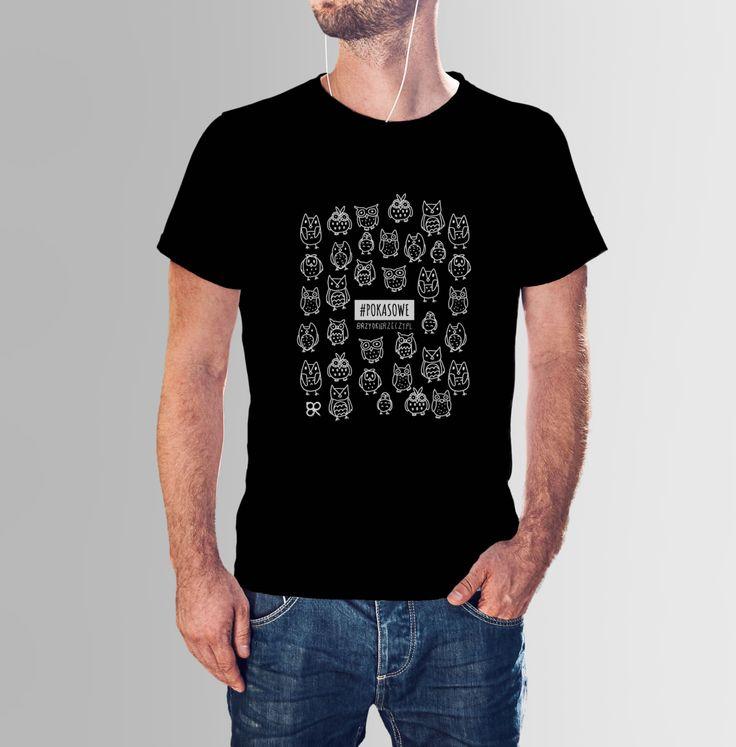 # POKA SOWE mi - czarna koszulka z sową, koszulka z nadrukiem