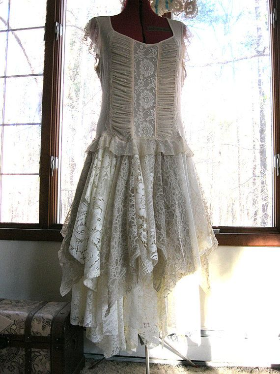 XL Beige Off White Ivory tattered wedding dress by LilyWhitepad