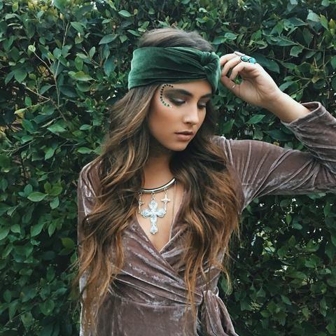 Olive Green Velvet Turban