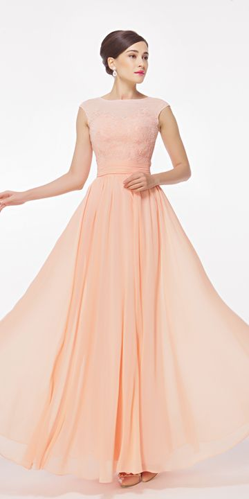 Modest peach bridesmaid dresses long lace bridesmaid gown cap sleeves
