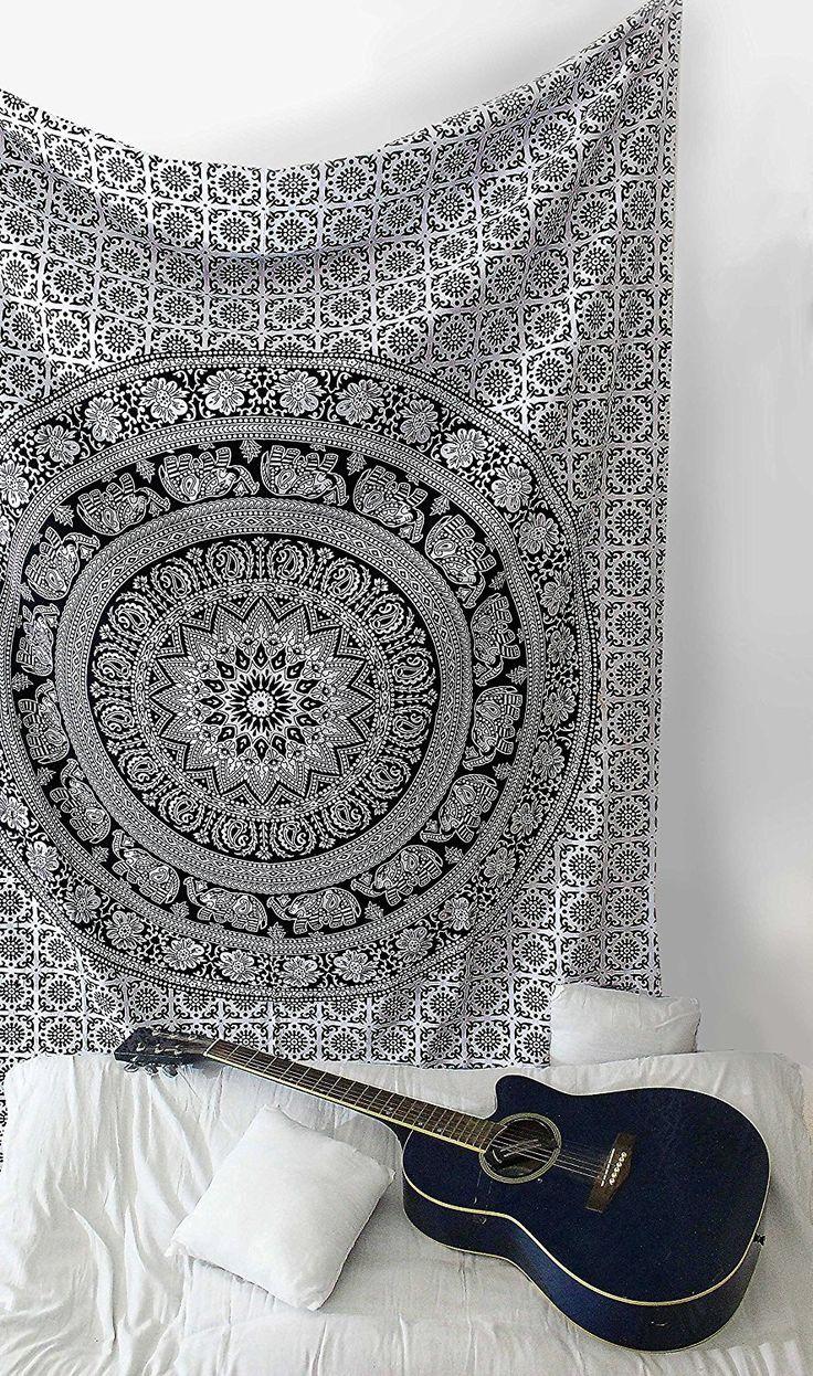 sheetkart schwarz und weiß Tapisserie Elefanten Mandala Hippie Traditionelle indische Überwurf BEACH Überwurf Art Wand College Wohnheim Bohemian Wandbehang Boho Twin klein Tagesdecke