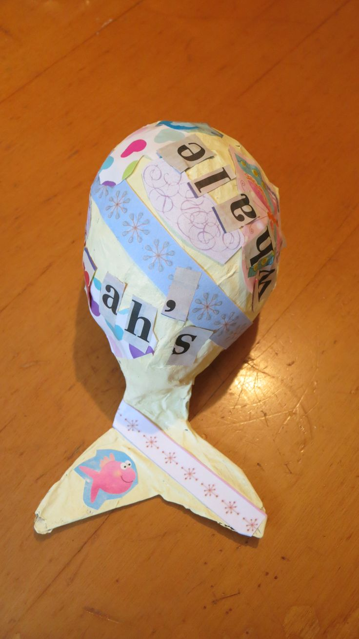 Decoupage jonahs whale made from paper mache which you for What can you paper mache