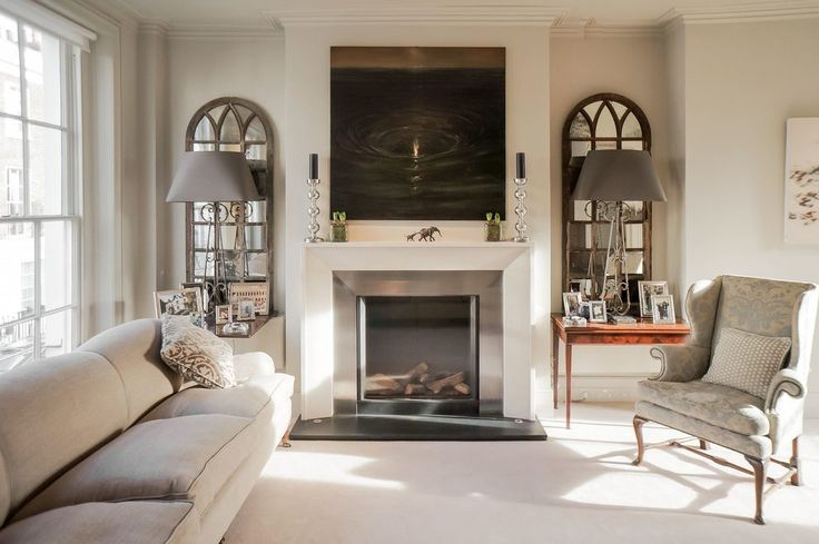 Fireplace surround kits living room transitional with mantel art tabletop picture frames