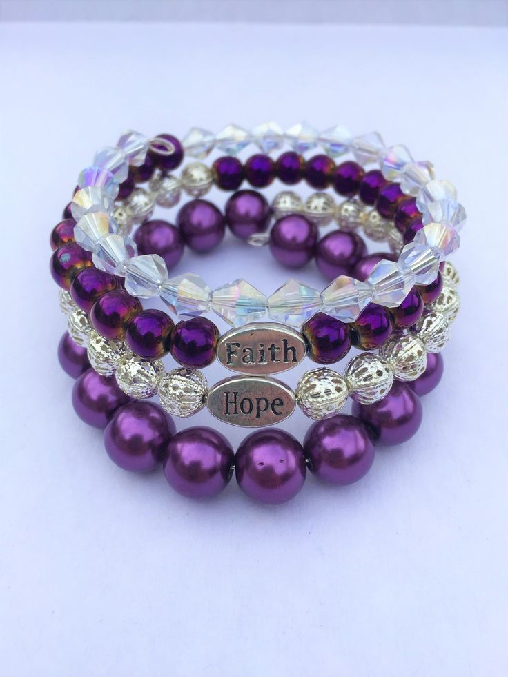 Purple Memory Wire Bracelet Jewelry For Women Beaded Etsy