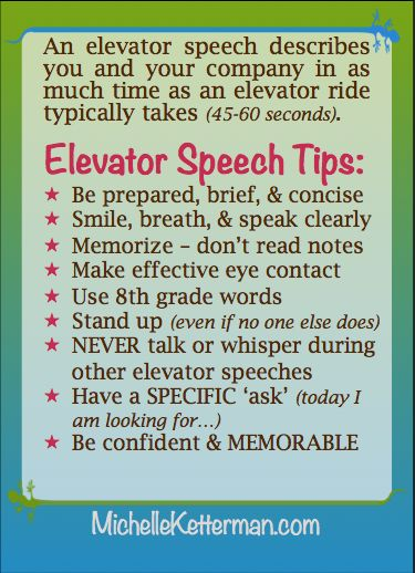 Elevator Speech Tips From Michelle Ketterman Americau0027s Home Based Business  Strategist Http://www