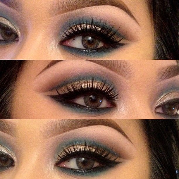 """[ @ ] pala_foxxia Playing around with my TIGI eye pallet //  i probably used every color on that pallet! Bahaha // house of lashes """"noir fairy"""" // freshlook contacts : grey"""