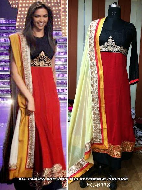 Buy Deepika Padukone Red Salwar Kameez Replica by Aadrika Fnj Online at Xarato.com