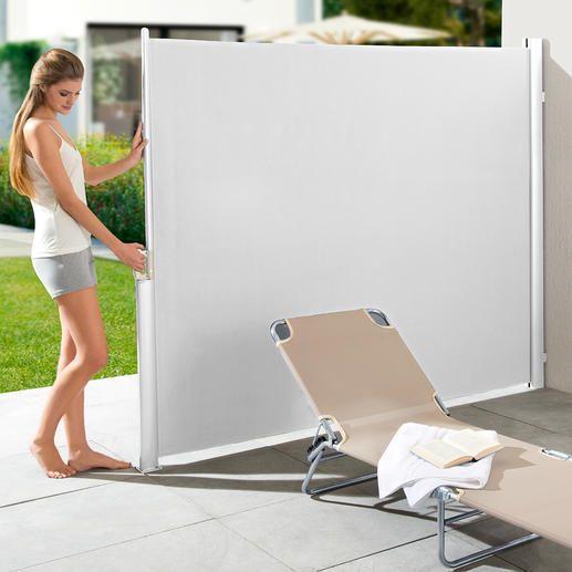 Ausziehbare Seitenmarkise Ihr perfekter Sonnen-, Sicht- und Windschutz: mit einem Handgriff parat. Nie im Weg.