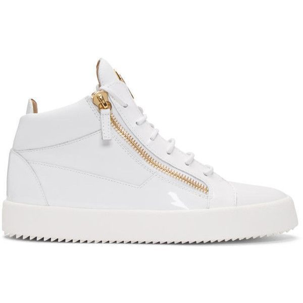 Giuseppe Zanotti White May London High-Top Sneakers ($665) ❤ liked on Polyvore featuring men's fashion, men's shoes, men's sneakers, white, mens round toe dress shoes, mens white sneakers, mens patent leather shoes, giuseppe zanotti mens shoes and mens white high top sneakers