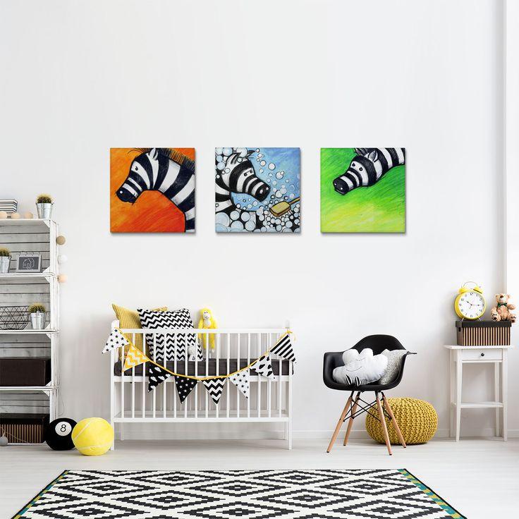 Kids Canvas Art Set, Zebra Illustrations, Nursery Wall Decor, Animal Wall Art, Nursery Decoration, Set of 3 Prints, Canvas Prints by Macrografiks on Etsy