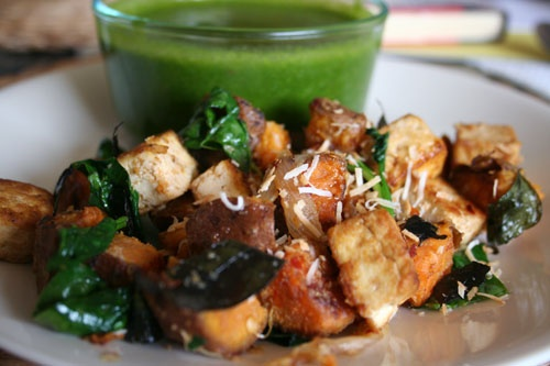 This was a spicy curried sweet potato and tofu dish. I sautéed some ...
