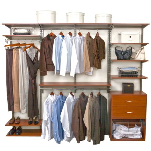 Organize your walk in closet or wardrobe any way you want with the versatile Cherry freedomRail Closet Shelving System.