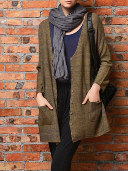 Solid color Knitting Cotton-blend Cardigan