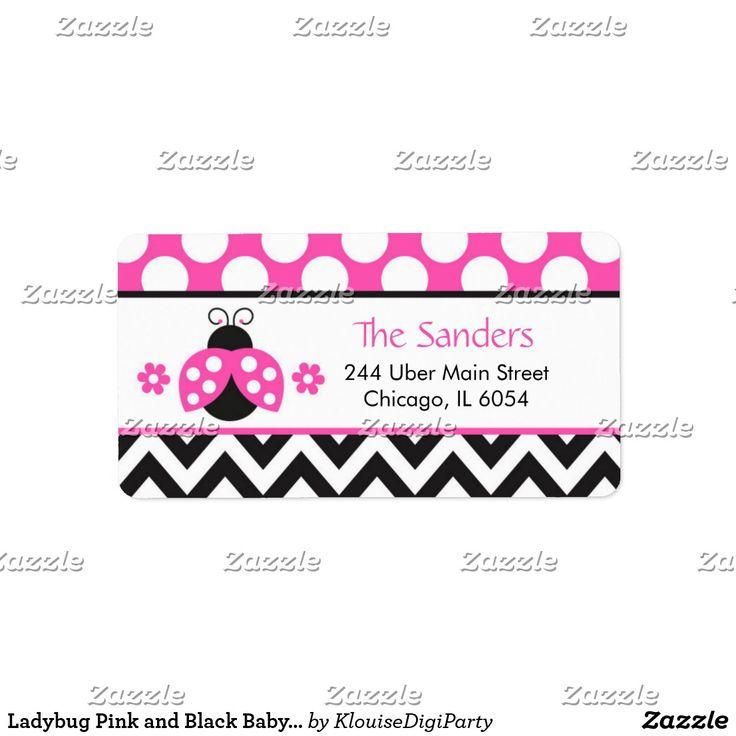 Ladybug Pink and Black Baby Shower Label