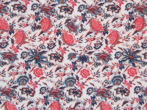 This dressmaking fabric is a fine and soft cotton voile covered in a red and blue floral/thistle inspired print on a white background.  This cotton voile dress fabric would be superb for sewing a light floaty blouse, summer dress or similar garment.  This dressmaking fabric is 100% cotton and is 141 cm wide.