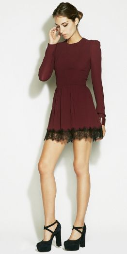 Touch of lace.  Reformation's MYSTIC DRESS   http://thereformation.com/MYSTIC-DRESS-BURGUNDY.html