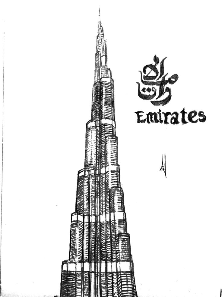 120 best sketch images on pinterest architecture for Burj khalifa sketch