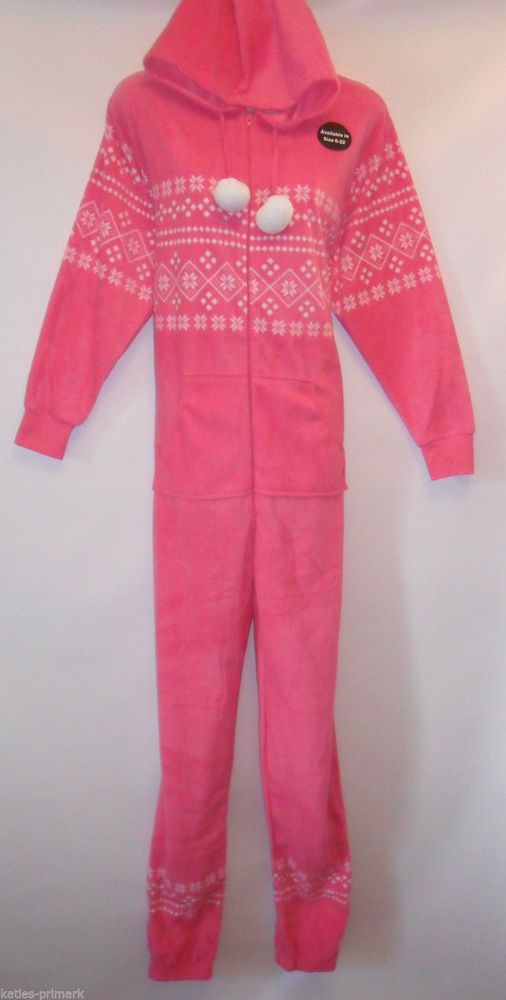PINK FAIR ISLE  Ladies All In One Pyjamas Sleepsuit Womens Primark UK 12-22