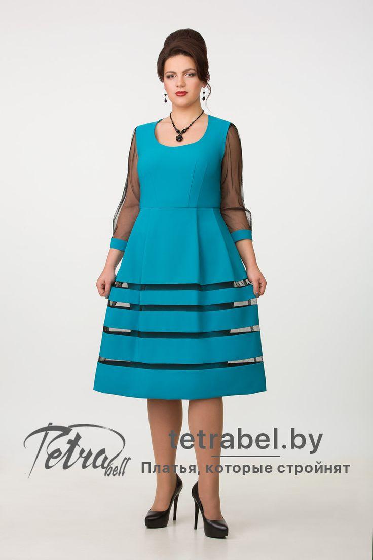 Нарядное платье сочного бирюзового цвета. Модель отрезная по линии талии с двойной юбкой, верхняя часть которой имеет расклешенный фасон. Вечерние платья больших размеров от tetrabel.by. Вечерние платья больших размеров оптом. #КрасивыеВечерниеПлатья2017ДляПолных #ПлатьяНаНовыйГодДляПолных