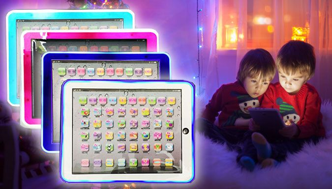 Buy Light-Up Kid's Tablet with LEDs - 4 Colours for just £5.99 Illuminate your little one with this educational Light-Up Kid's Tablet      Choose from black or white with blue LED border, or pink or blue with white LEDs      Includes games, songs, quiz questions - and even a piano keyboard.      Features engaging and educational puzzles to keep them busy      LED light border illuminates...
