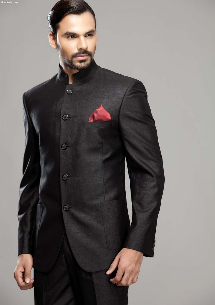 Simple Sober Look Black Jodhpuri Suit Sherwani