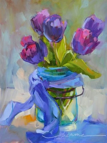 """Daily Paintworks - """"Cottage Tulips and A Perfectly Beautiful NOW"""" - Original Fine Art for Sale - © Dreama Tolle Perry"""