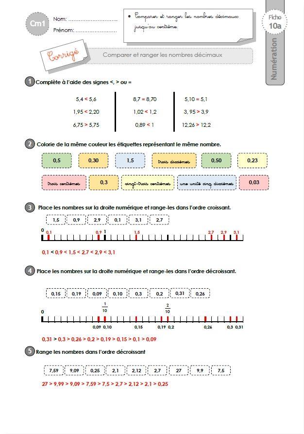 Cm1 Exercices Comparer Et Ranger Les Nombres Decimaux Les Nombres Decimaux Cm1 Decimale